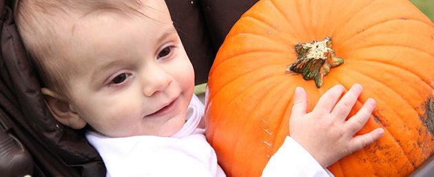 Baby with BIG pumpkin