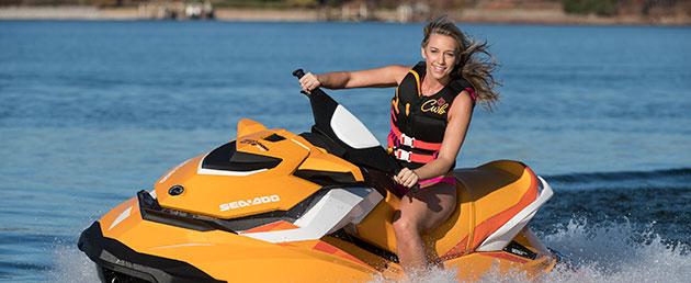 Russell Marine - Girl on orange Sea-Doo Spark
